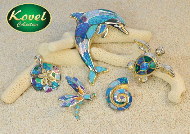 Kovel jewelry dolphin, sea turtle, sea snail, sanddollar and drangonfly pendants