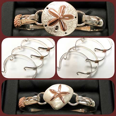 A sand dollar clasp and seashell clasp on a convertible LeStage silver and rose gold braceet