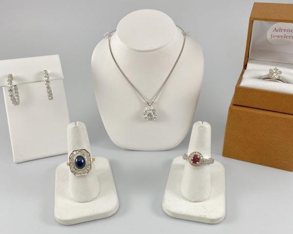 Heirloom rings, necklaces and earrings on display